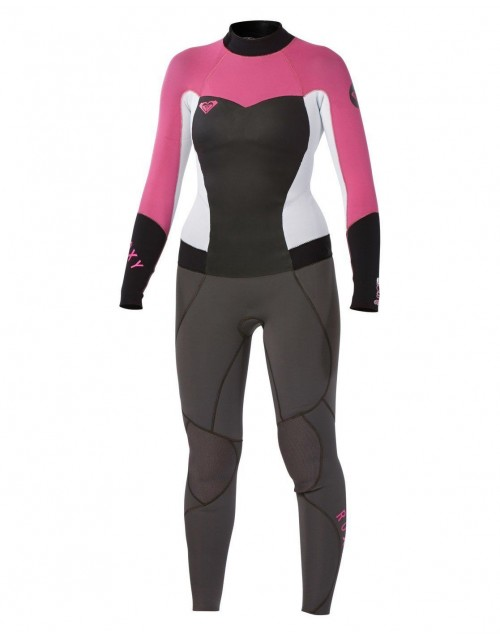 Neopreno de surf Roxy Syncro GBS 3/2 mm Fullsuit Back Zip Graphite-White-Pink-Black
