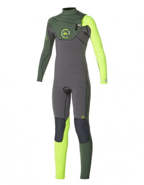 Neopreno de surf Quiksilver Cypher Fullsuit 3/2 mm Chest Zip Black-Green-Yellow